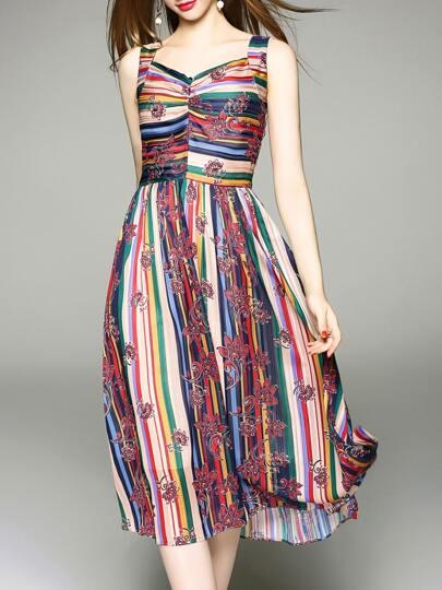 V Neck Color Block Print Dress