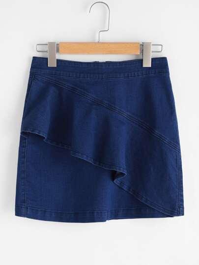 Asymmetric Flounce Trim Denim Skirt
