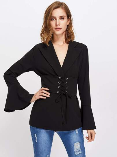 Fluted Sleeve Corset Belt Detail Blazer