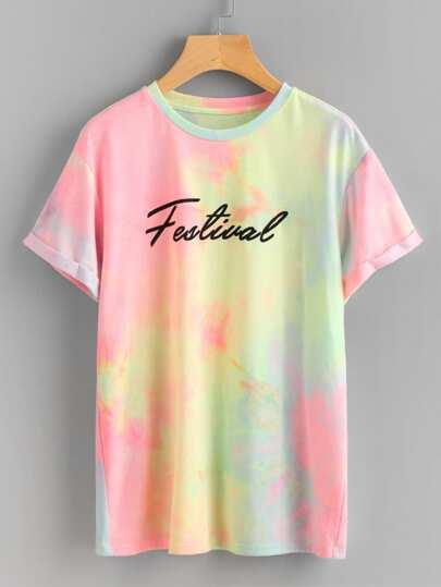 Tee-shirt teint de pastel avec des replis