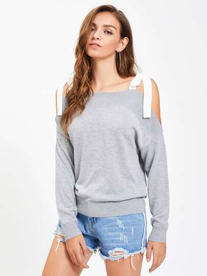 Contrast Ribbon Tie Shoulder Jumper