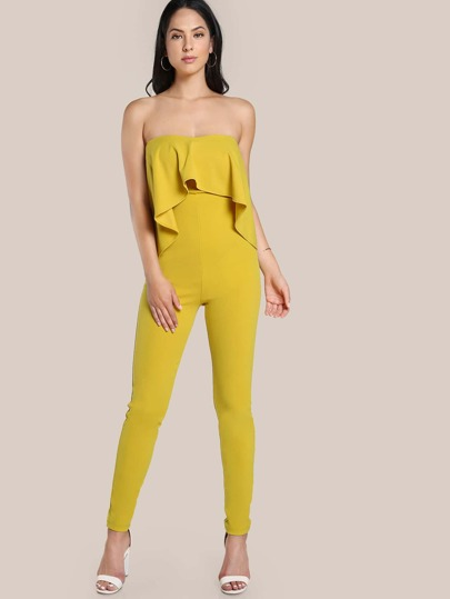 Strapless Flounce Jumpsuit YELLOW