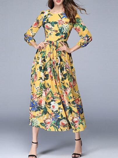 Flowers Print Pleated Dress