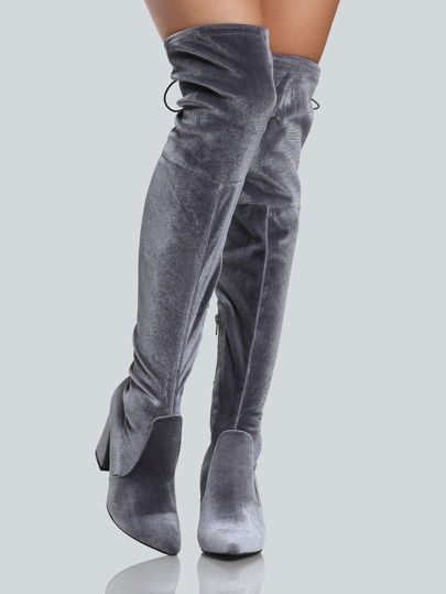 Faux Velvet Pointy Toe Back Lace Up Thigh High Boots GREY