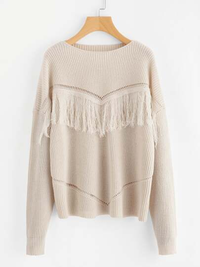 Eyelet Detail Fringe Trim Jumper