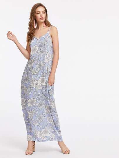 Allover Florals Pinstriped V Back Cami Dress