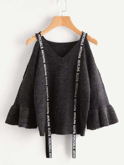 Pullover mit Muster, Träger Detail und Trompetenhülsen