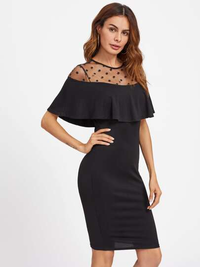 Dot Mesh Neck Flounce Trim Dress