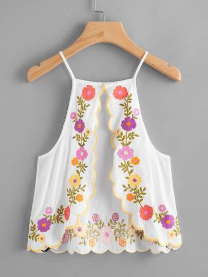 Scallop Trim Split Back Embroidered Cami Top