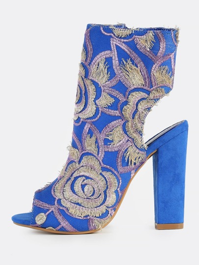 Floral Stitched Peep Toe Booties BLUE