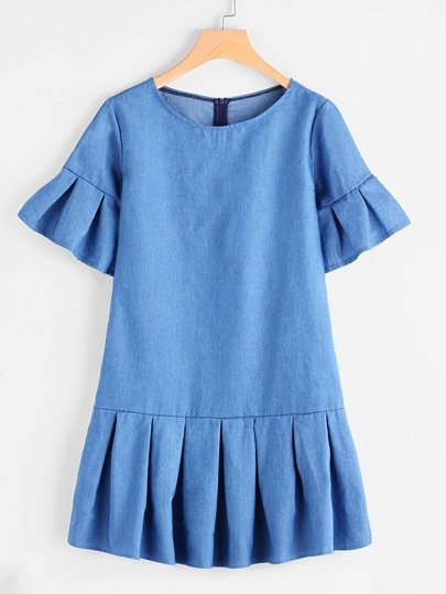Frill Trim Drop Hem Chambray Dress