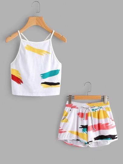 Rainbow Graffiti Print Cami Top With Drawstring Shorts