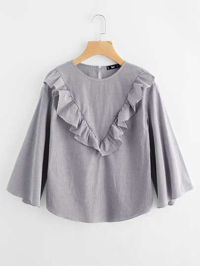 Frill Trim Kimono Sleeve Pinstripe Top