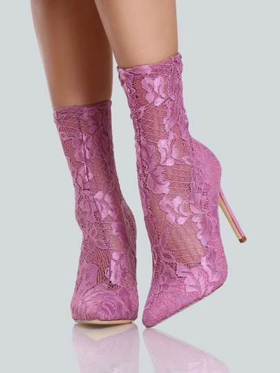 Lace Point Toe Ankle Bootie Heels DUSTY PINK