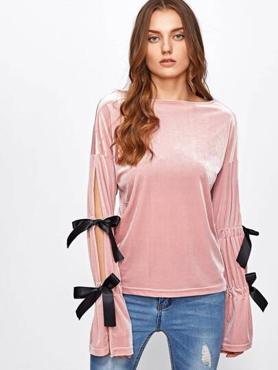 Contrast Bow Tie Split Sleeve Velvet Top