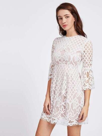 Trumpet Sleeve Lace Overlay High Waist Dress
