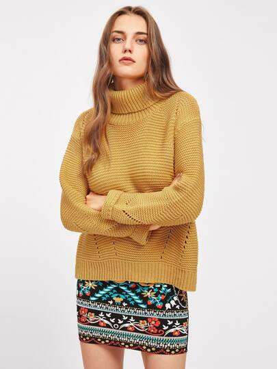 Roll Neck Eyelet Boxy Jumper