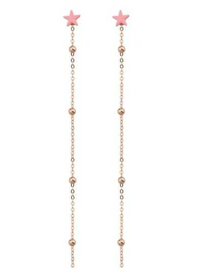 Pink Color Pearl Chain And Star Pendant Earrings