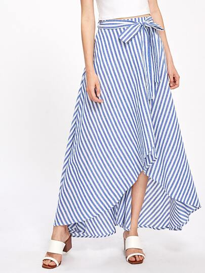 Self Tie Overlap Striped Skirt