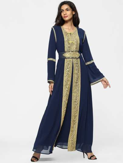 Contrast Crochet Embroidered Tape Detail Chiffon Dress With Abaya