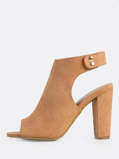 Heel Cut Out Ankle Strap Heels CAMEL