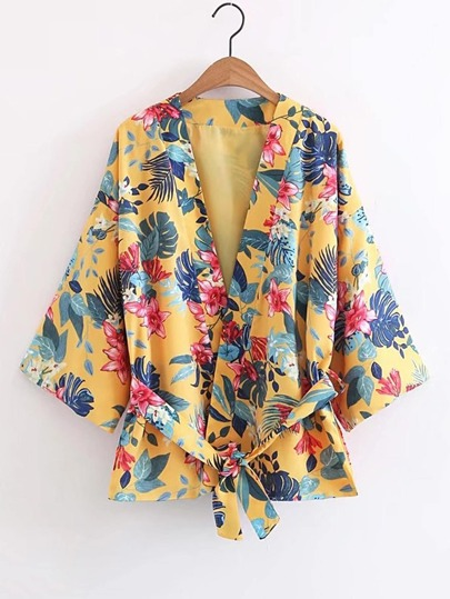 Open Front Floral Print Kimono With Self Tie