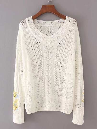 Embroidery Hollow Out Sweater