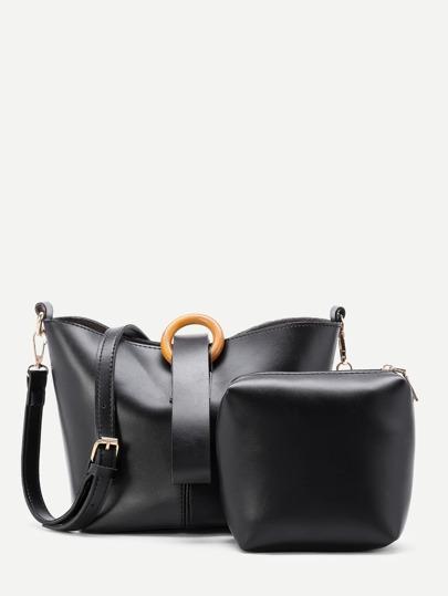 PU Shoulder Bag With Clutch