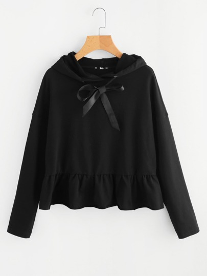 Ribbon Drawstring Detail Frilled Hem Hoodie