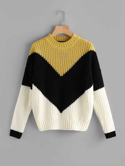 Color Block Chevron Jumper