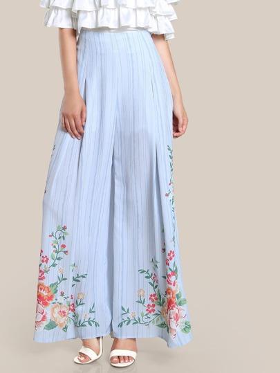 Stripe & Floral Print High Rise Pants LIGHT BLUE