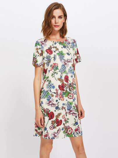 Botanical Print Tee Dress