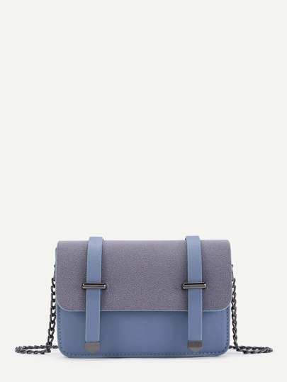 Double Belt Front PU Chain Crossbody Bag
