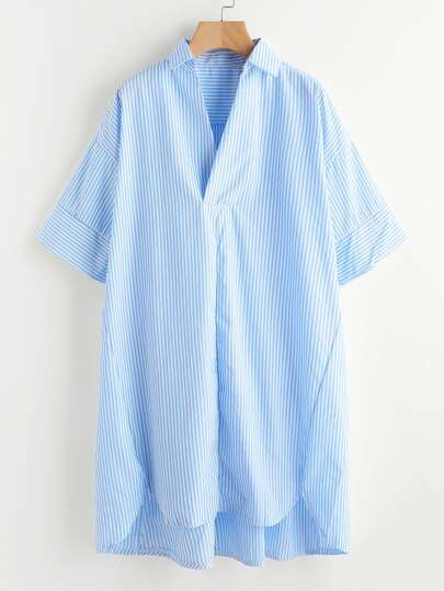 Drop Shoulder Dip Hem Striped Shirt Dress