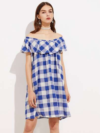 Flounce Layered Neckline Check Plaid Dress