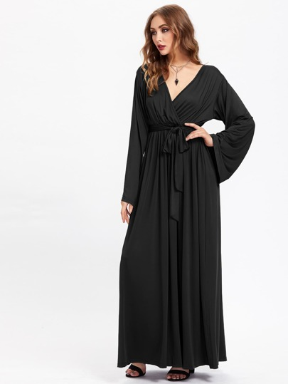 Surplice Front Self Tie Kaftan Dress