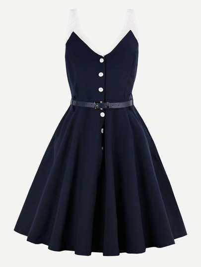 Contrast Panel Button Front Swing Dress With Belt