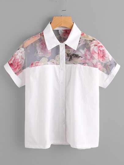 Contrast Florals Mesh Yoke Cuffed Shirt