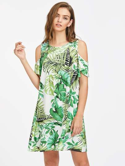 Open Shoulder Flutter Sleeve Tropical Dress