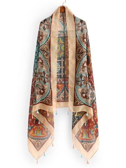 Mixed Print Tassel Trim Scarf
