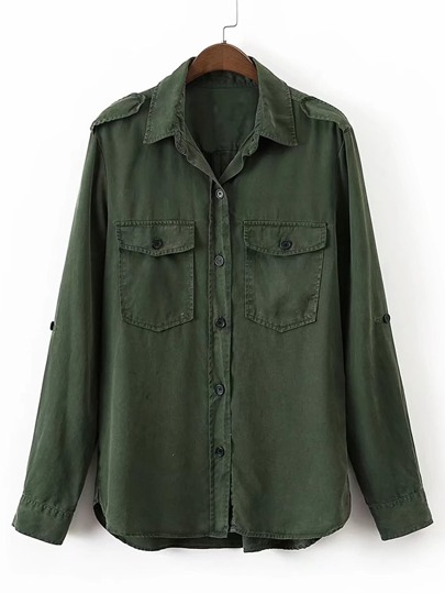Epaulet Shoulder Flap Pocket Blouse