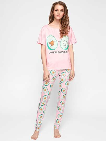 Cartoon Avocado Print Tee And Pants Pajama Set