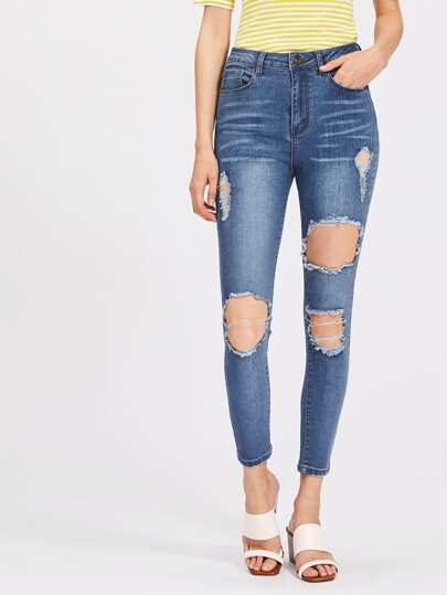 Bleach Wash Cutout Jeans