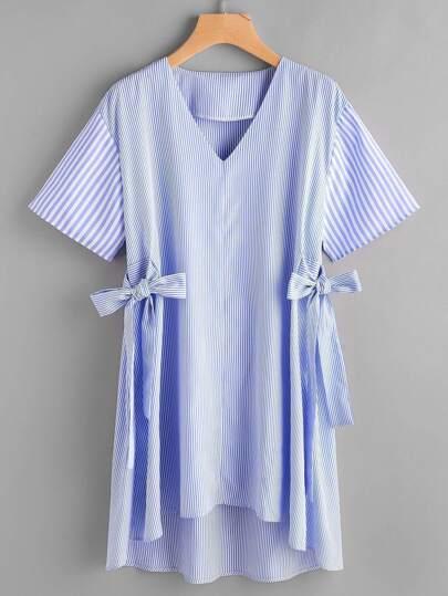 Vertical Striped Tie Side Dip Hem Dress