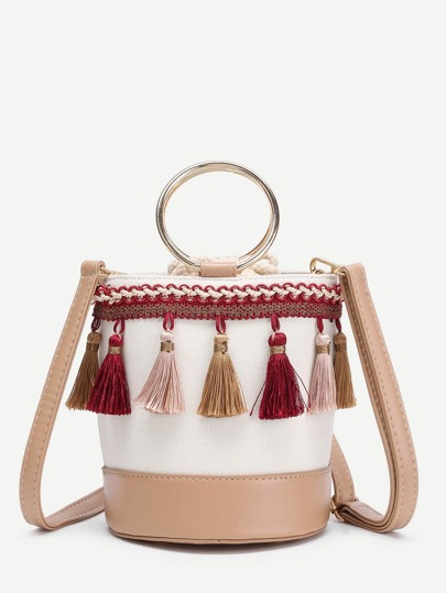 Tassel Decorated Bucket Bag With Ring Handle