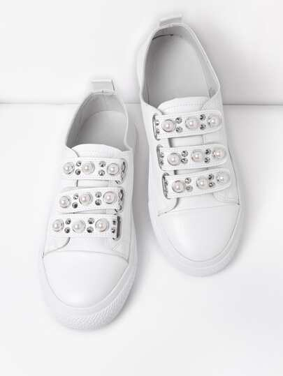 Faux Pearl & Studded Detail PU Shoes