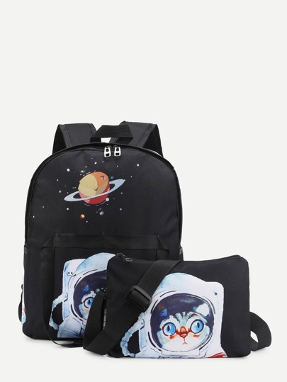 Cartoon Print Canvas Combination Bag 2pcs