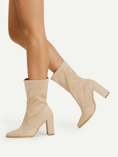 Pointed Toe High Heeled Ankle Boots