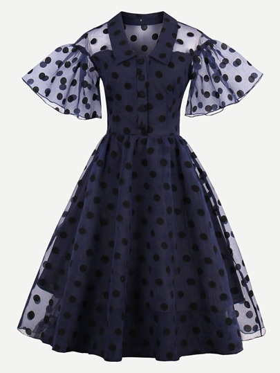 Dot Mesh Overlay Fluted Sleeve Swing Dress
