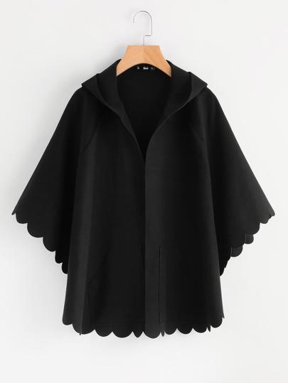 """Модная куртка с капюшоном и фестонами, рукав\""""летучая мышь\"""""""